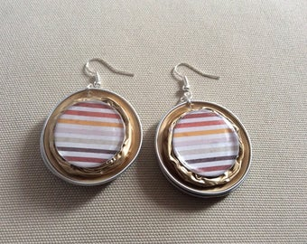 Earrings Golden recycled Nespresso capsules topped with a little striped theme resin cabochon