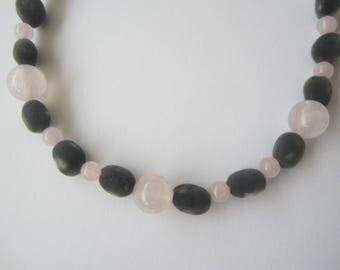 Zanzibar seeds and natural rose quartz necklace