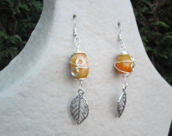 Silver plated and yellow agate earrings / stone of inner peace / women gift