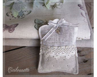 white linen and lace Lavender scented sachet