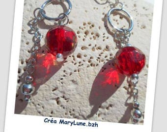 Clips for non-pierced red earrings