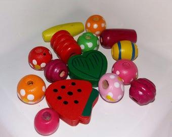 original set of 15 beads wooden × × ×