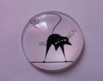 glass 25mm cat themed 1cabochon
