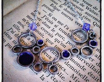 """Silver and glittery """"bubbles"""" pendant necklace purple"""