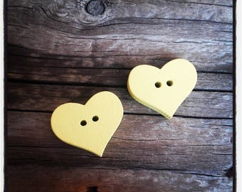 set of 2 heart sewing yellow wooden buttons