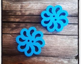 set of 2 fancy wood, rose, blue flower buttons