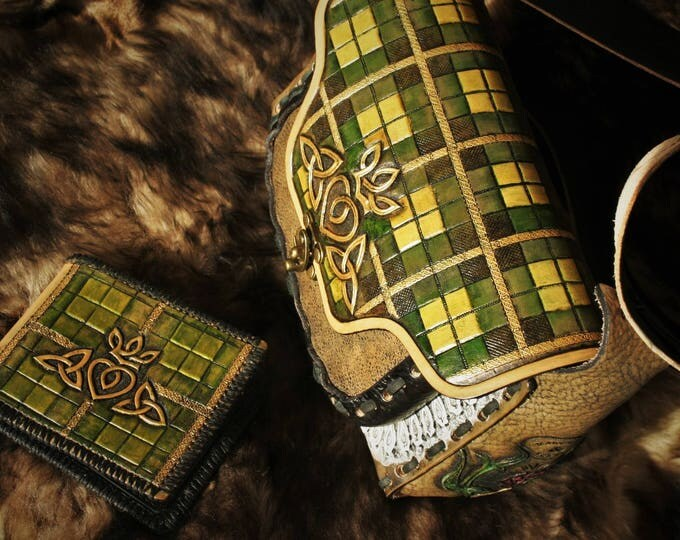 Featured listing image: Scottish Outlander sassenach Claire Fraser tartan tooled leather wallet and purse set
