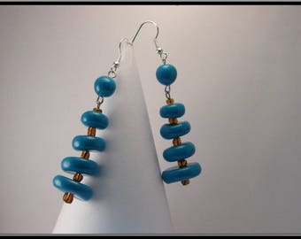 Turquoise polymer clay bead earrings.