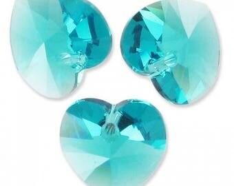 Lot 6 10mm blue zircon Swarovski Crystal hearts