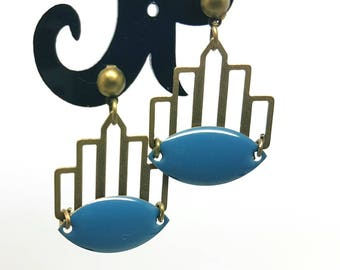 blue grey and bronze earrings