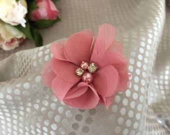 Old pink chiffon flower brooch
