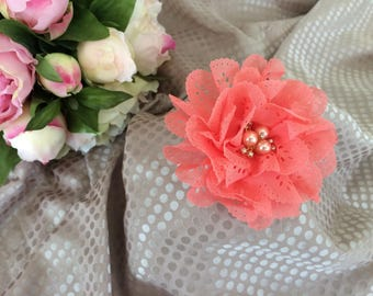 Flower 8 cm in coral eyelet embroidery and rhinestones