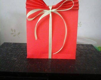 Christmas gift bag red origami (set of 5)