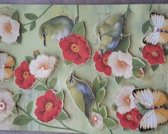 3D flowers and birds theme stickers stickers