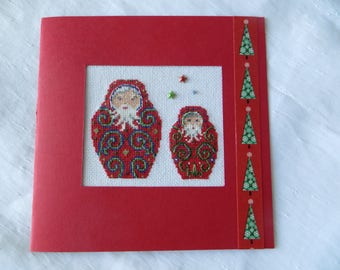 Hand embroidered card: Russian Santa Claus Duo