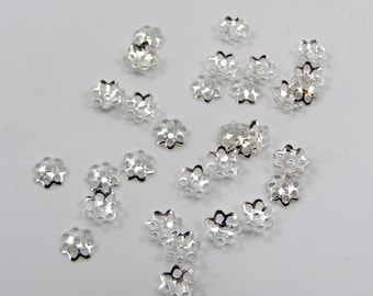 Bead caps filigree 6 x 1.5 mm flower silver 100 Pack