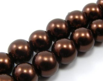 Set of 10 beads 8 mm glass Pearl Brown