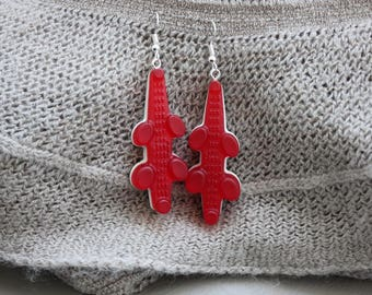 Crocodiles candy resin earrings red and white