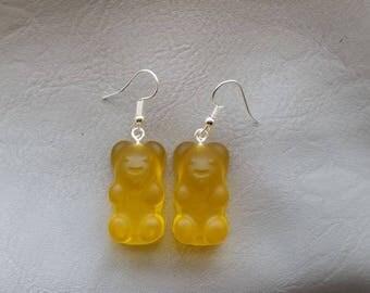 Yellow resin candy bear earrings earrings