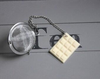 Resin ball tea Infuser teaspoon, stainless steel, white chocolate