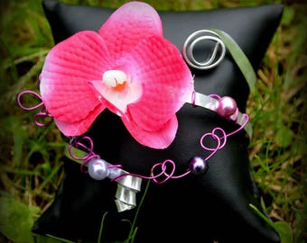 """RAVENA"" bracelet with small fuchsia Orchid"