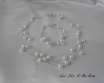 """Set White Pearl wedding 2 PCs """"Thomas"""" necklace & beaded bracelet"""