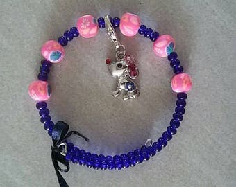 Bracelet seed beads, polymer clay and metal charm