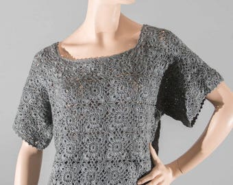 Gray women crochet tunic