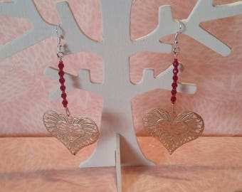 Earrings - heart gold and red beads