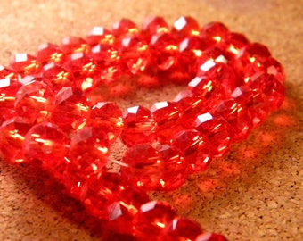 35 silver Austrian Crystal faceted - red heart - 8 mm x 6 mm - PE73