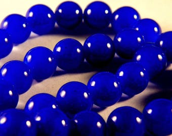 "50 glass 10 mm way ""jade"" beads - royal blue - PE80"