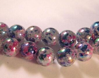 10 pearls iridescent Rainbow - blue translucent glass - 12 mm - PE60