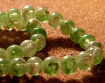 45 glass beads 6 mm speckled 2 tones - green - translucent PE187-6