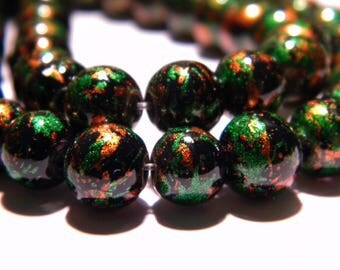 10 bright decorated glass - beads 8 mm - tones green and orange PG100 5