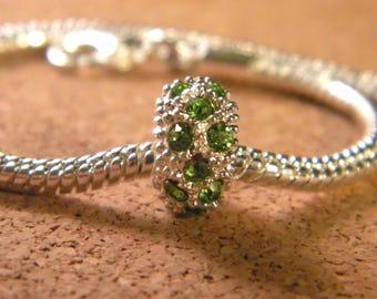 Pearl light green-rhinestones-European charms - plated - 11 x 6 BA-26 mm