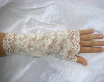 Pink, beige lace fingerless mittens perfect wedding