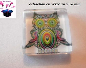 1 cabochon clear square flat 20 x 20 mm