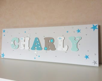 Light canvas - wood name on canvas - painting kids room - Charly