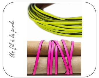 Leather strap flat genuine neon ±5x1, 5mm (neon yellow or neon fuchsia)-CUP5