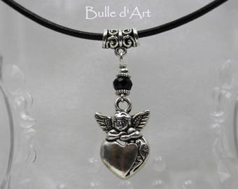 Necklace * heart Angel * on a black leather cord