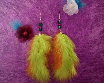 orange green feather earrings