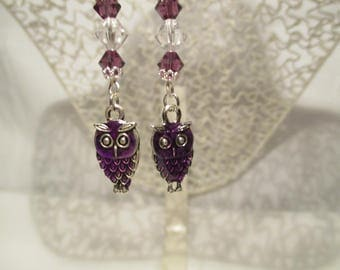 OWL charm and Swarovski earrings