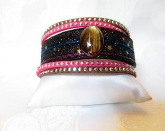 Glittery Brown Cuff Bracelet / cat's eye cabochon