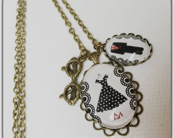 Vintage glass cabochon, my little black dress necklace