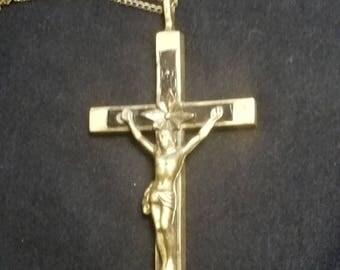Antique Crucifix Ebony Wood Inlay
