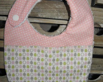 Cotton fabric bib with eggs, polka dots and sponge for babies from birth to 12 months
