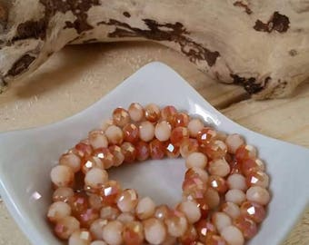 50 6mm amber Crystal faceted glass beads