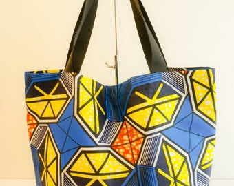 BARNABAS - Lined blue and yellow African fabric tote bag