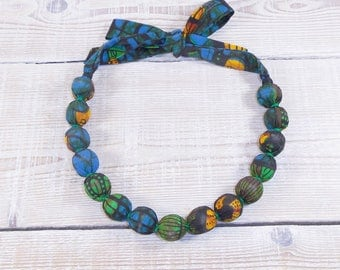 Choker made of Wax fabric blue green yellow neck or adjustable mid long, tones,