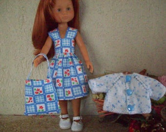 cherished dolls clothing (dress blue and white gingham, floral (slightly embossed), vest, bag)